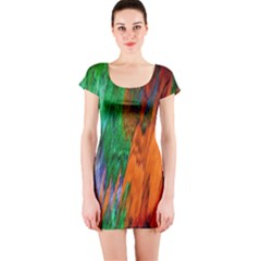 Watercolor Grunge Background Short Sleeve Bodycon Dress