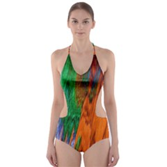 Watercolor Grunge Background Cut Out One Piece Swimsuit