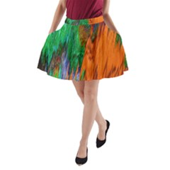 Watercolor Grunge Background A-Line Pocket Skirt