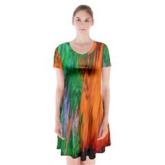 Watercolor Grunge Background Short Sleeve V-neck Flare Dress
