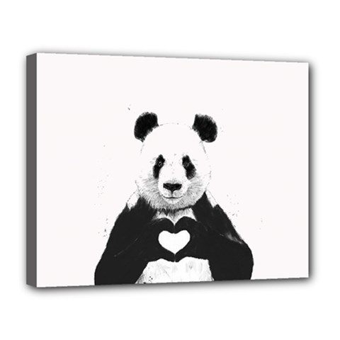 Panda Love Heart Canvas 14  X 11