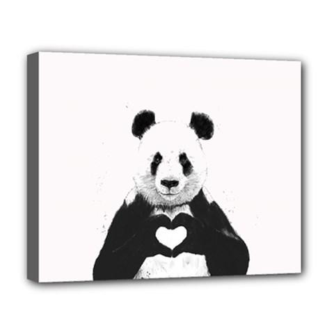Panda Love Heart Deluxe Canvas 20  x 16