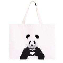 Panda Love Heart Large Tote Bag