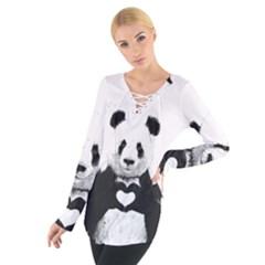 Panda Love Heart Women s Tie Up Tee