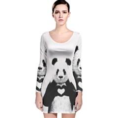 Panda Love Heart Long Sleeve Velvet Bodycon Dress