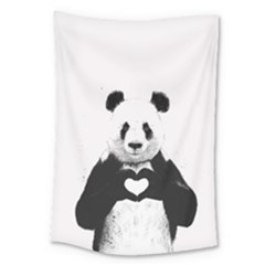 Panda Love Heart Large Tapestry