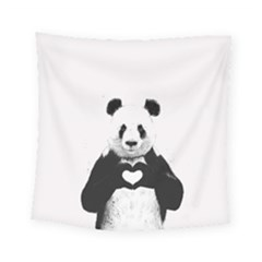 Panda Love Heart Square Tapestry (Small)