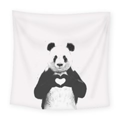 Panda Love Heart Square Tapestry (Large)