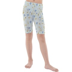 Vintage Hand Drawn Floral Background Kids  Mid Length Swim Shorts