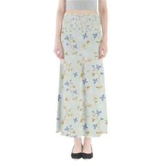 Vintage Hand Drawn Floral Background Maxi Skirts