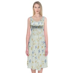 Vintage Hand Drawn Floral Background Midi Sleeveless Dress