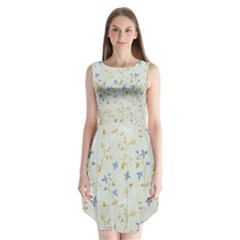 Vintage Hand Drawn Floral Background Sleeveless Chiffon Dress