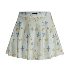 Vintage Hand Drawn Floral Background Mini Flare Skirt