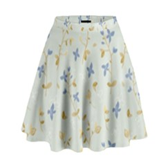 Vintage Hand Drawn Floral Background High Waist Skirt
