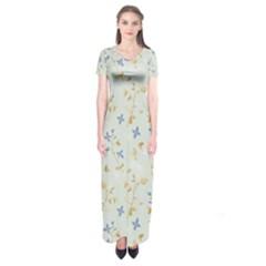 Vintage Hand Drawn Floral Background Short Sleeve Maxi Dress