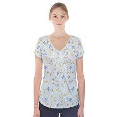 Vintage Hand Drawn Floral Background Short Sleeve Front Detail Top