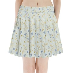 Vintage Hand Drawn Floral Background Pleated Mini Skirt