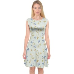 Vintage Hand Drawn Floral Background Capsleeve Midi Dress