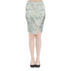 Vintage Hand Drawn Floral Background Midi Wrap Pencil Skirt