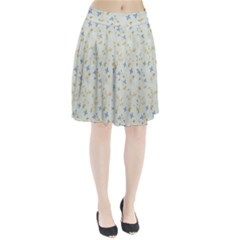 Vintage Hand Drawn Floral Background Pleated Skirt