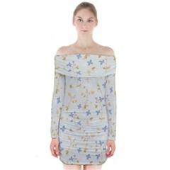 Vintage Hand Drawn Floral Background Long Sleeve Off Shoulder Dress
