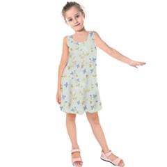 Vintage Hand Drawn Floral Background Kids  Sleeveless Dress