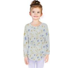 Vintage Hand Drawn Floral Background Kids  Long Sleeve Tee