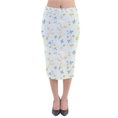 Vintage Hand Drawn Floral Background Velvet Midi Pencil Skirt