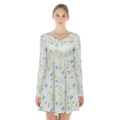 Vintage Hand Drawn Floral Background Long Sleeve Velvet V Neck Dress
