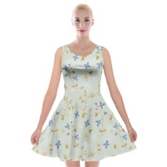 Vintage Hand Drawn Floral Background Velvet Skater Dress