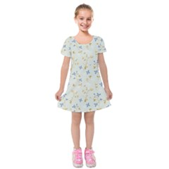 Vintage Hand Drawn Floral Background Kids  Short Sleeve Velvet Dress