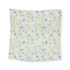 Vintage Hand Drawn Floral Background Square Tapestry (small)