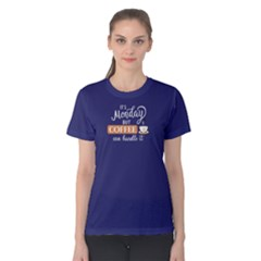 Purple it s monday and coffee can handle it Women s Cotton Tee