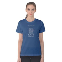 blue i am a office clerk, i solve problems Women s Cotton Tee