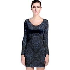 DMS1 BK-MRBL BL-STONE Long Sleeve Velvet Bodycon Dress