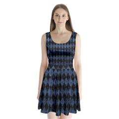 DIA1 BK-MRBL BL-STONE Split Back Mini Dress