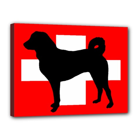 Appenzeller Sennenhund Silo Switzerland Flag Canvas 16  x 12