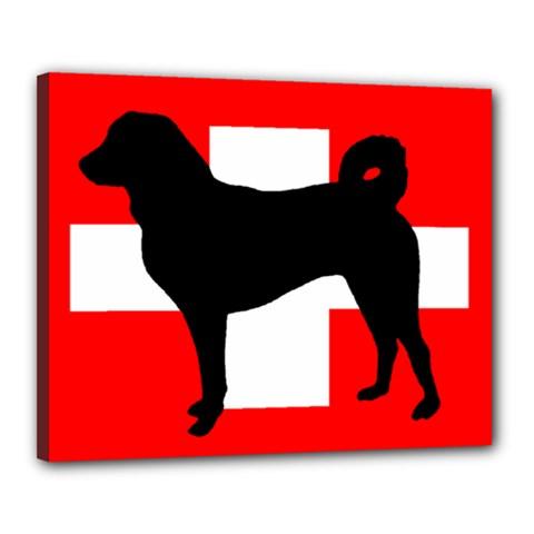 Appenzeller Sennenhund Silo Switzerland Flag Canvas 20  x 16