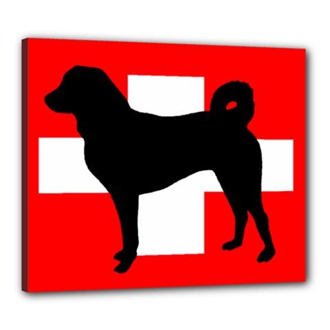 Appenzeller Sennenhund Silo Switzerland Flag Canvas 24  x 20