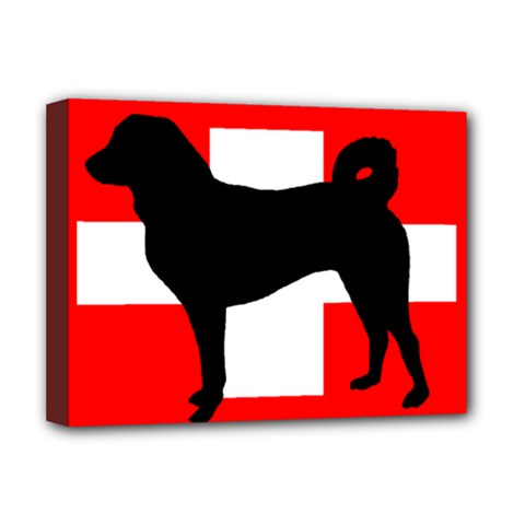 Appenzeller Sennenhund Silo Switzerland Flag Deluxe Canvas 16  x 12