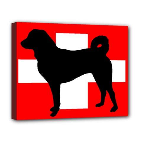 Appenzeller Sennenhund Silo Switzerland Flag Deluxe Canvas 20  x 16
