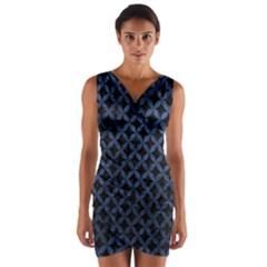 CIR3 BK-MRBL BL-STONE Wrap Front Bodycon Dress