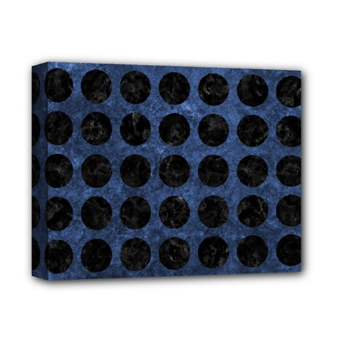 Circles1 Black Marble & Blue Stone (r) Deluxe Canvas 14  X 11  (stretched)