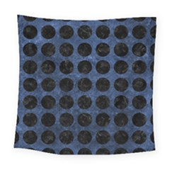 Circles1 Black Marble & Blue Stone (r) Square Tapestry (large)