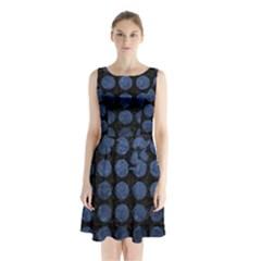CIR1 BK-MRBL BL-STONE Sleeveless Chiffon Waist Tie Dress