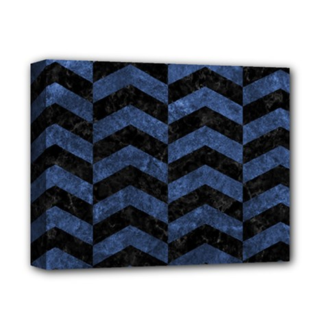 Chevron2 Black Marble & Blue Stone Deluxe Canvas 14  X 11  (stretched)