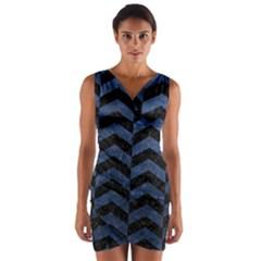 CHV2 BK-MRBL BL-STONE Wrap Front Bodycon Dress