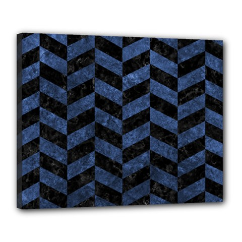 Chevron1 Black Marble & Blue Stone Canvas 20  X 16  (stretched)