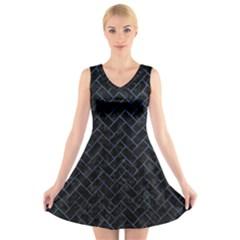 BRK2 BK-MRBL BL-STONE V-Neck Sleeveless Skater Dress