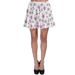 Heart Ornaments And Flowers Background In Vintage Style Skater Skirt